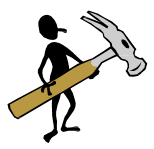 A cartoon man holding up a comically large hammer.