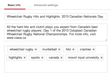 Basic info for a general sport-related youtube video.