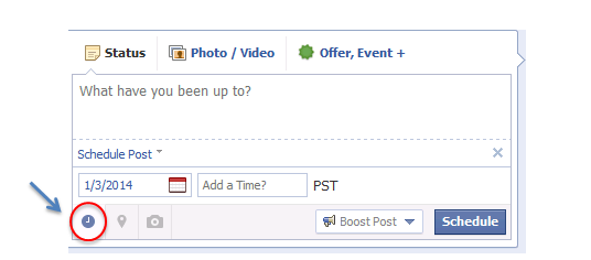 Screenshot of Facebooks schedule a post option