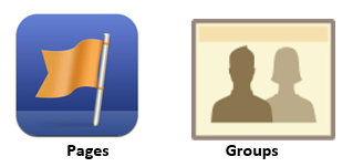 Icons of Facebooks pages and groups