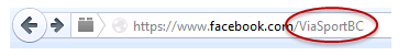 Screenshot of viaSport's facebook web address