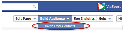 Screenshot of facebook's invite an email contact screen