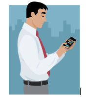 A graphic of a man using his iPhone