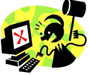 Graphic of an angry figure brandishing a hammer at a computer