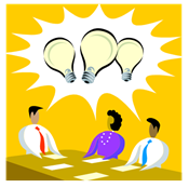 a group of people with a bright idea light bulb above them