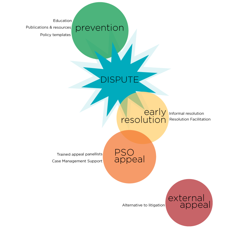 A web showing the process for dispute prevention and resolution.