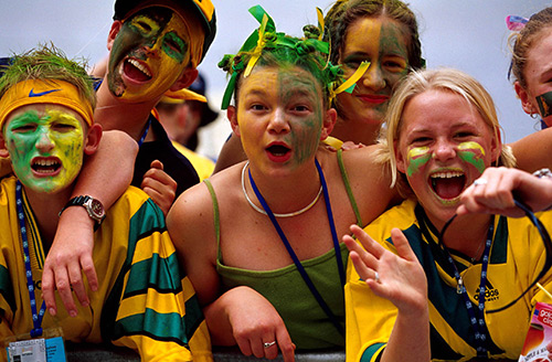 Kids cheering at sport game