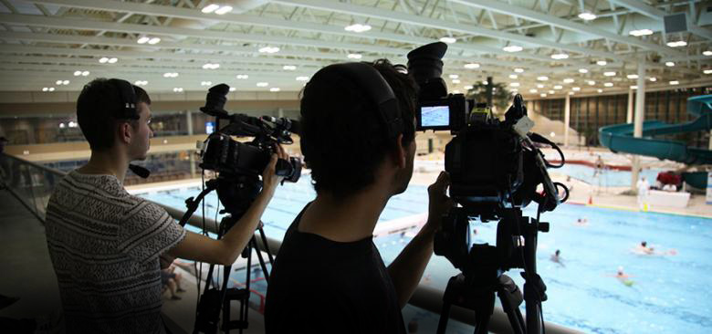 viaSport media filming at the Water Polo Nationals