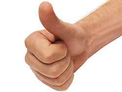 A hand doing a thumbs up
