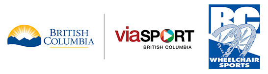 Logos for Province of BC, viaSport and BC Wheelchair Sports