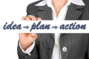 Women holding a sign that says Idea - Action - Plan