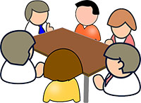 People around the table at a meeting