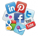 Collage of social media icons