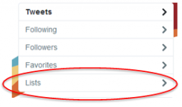 Twitters menu with lists highlighted