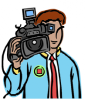 Graphic of a man with a video camera