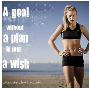 A woman in athletic clothes next to the quote: A goal without a plan is just a wish.