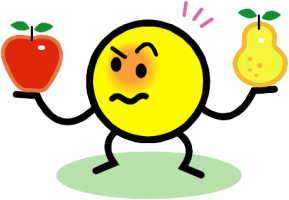 A cartoon face frowning and holding up an apple and a pear whilst comparing them.
