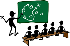 A stick figure showing a team a play strategy on the chalkboard.