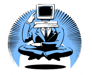 A man with a computer for a head, meditating.