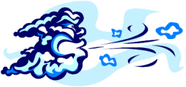 An animated cloud blowing wind.