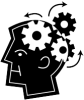 Graphic of a man with gears turning in his head