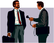 A man interviewing another.