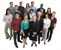 A group of people standing together against a white background.