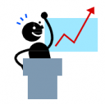A stick figure standing behind a podium, gesturing to a graph that is positively increasing.