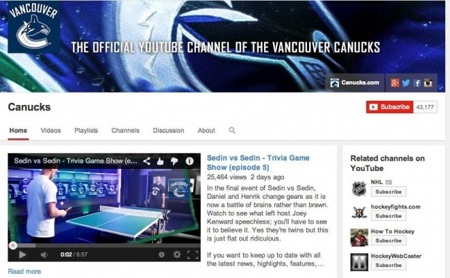 Vancouver Canucks YouTube Channel