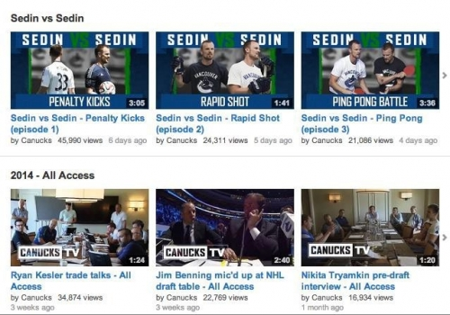 Recent uploads and playlist menu on the Canucks YouTube channel