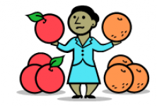 A woman comparing apples and oranges