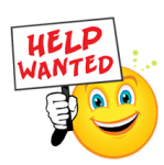 A smiling emoticon holding up a help wanted sign.