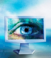 An image of an eye on a computer screen.