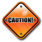 An orange caution sign.