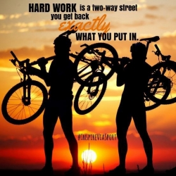 An example of a sports related meme, with the quote hard work is a two way street, you get back exactly what you put in.