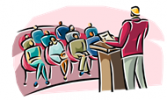 Cartoon of a man presenting to a group