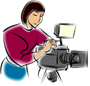 cartoon woman adjusting a camera