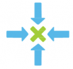 Four arrows pointing to an X in the center