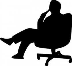 Man sitting in office chair thinking