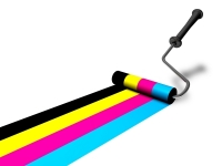 multi-colored paint roller
