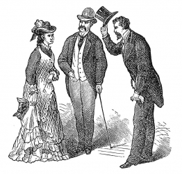 Two old fashioned gentlemen and a woman, black and white sketch