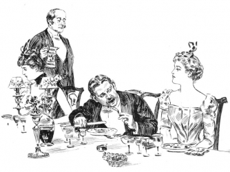 an old fashioned sketch of a few people eating dinner