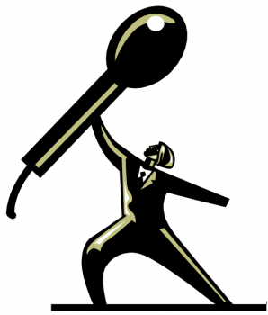 A graphic of a man holding up a giant microphone.