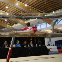 Gymnastics athlete at the Pacific Rim Gymnastics event at Richmond Olympic Oval in 2014