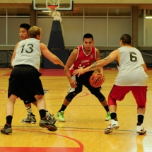Two basketball players making their way to the net at last year's event