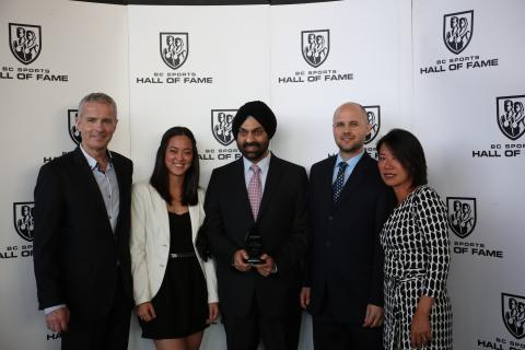 Recipient Ram Nayyar with family and viaSport staff