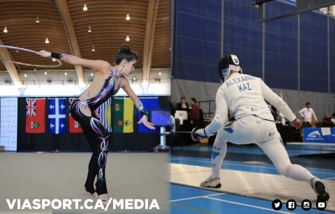 Rhythmic athlete on the left and fencing athlete on the right