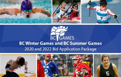 Athletes with 2020 and 2022 BC Games Bid Application Package text overlay