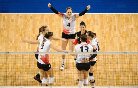 Canadian Women's Volleyball Team during their game at Pinnacle Bank Arena on January 9, 2016 in Omaha, Nebraska