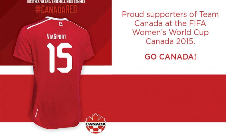 CanadaRED soccer jersey with ViaSport on the back